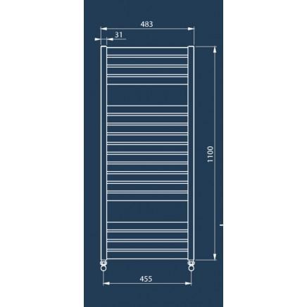 Лира за баня алуминиева BOLD 480 * 1100 инокс