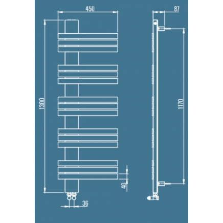 Лира за баня алуминиева GUARDIAN L 450 * 1300 инокс