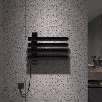 Дизайнерска лира за баня алуминиева черна SOUL 550 * 472
