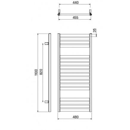 Лира за баня  алуминиева SPARK  480 * 1100 перлено бяла