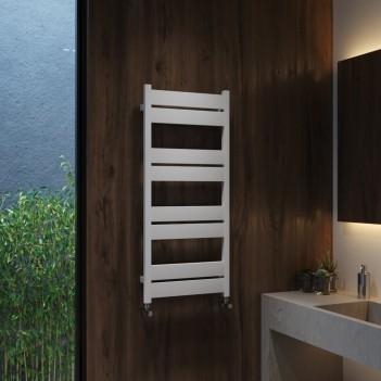 Дизайнерска алуминиева лира за баня перлено бяла OPTIMA 480 * 1100